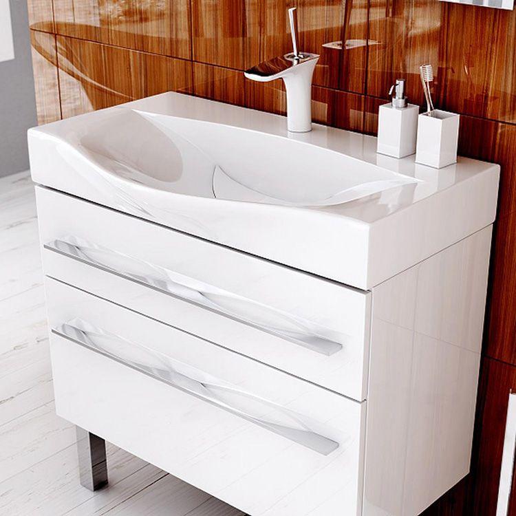 Классическая прямоугольная тумба с раковиной 60 см для ванной
