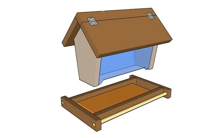 Чертёж домика для птиц с откидной крышей своими руками