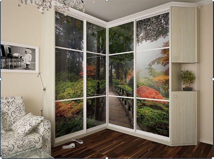 Фото дизайна углового шкафа-купе в спальню с фотопечатью