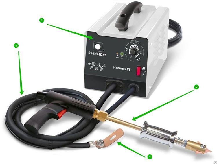 Составляющие споттера: корпус (1), стаддер (2), кабель (3), и электрод (4)