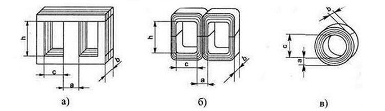 Виды конструкции магнитопроводов трансформаторов и их размеры для расчёта площади сечения