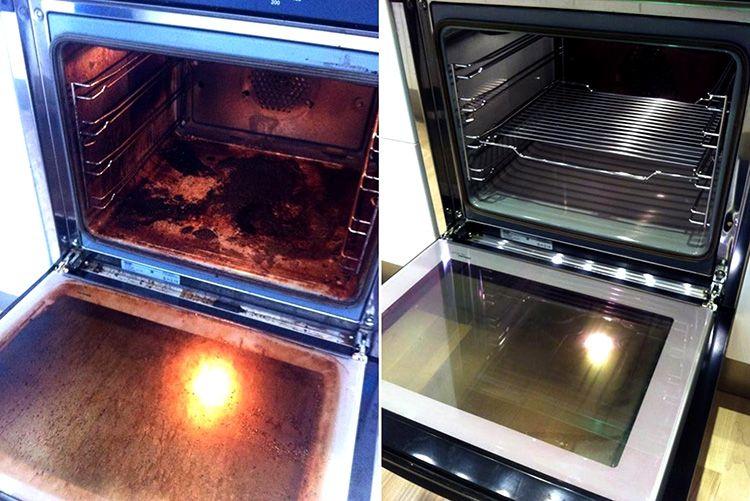 Духовой шкаф, очищенный в домашних условиях: до и после