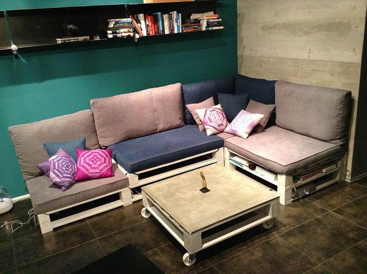 Сделанный из паллет своими руками диван и журнальный столик