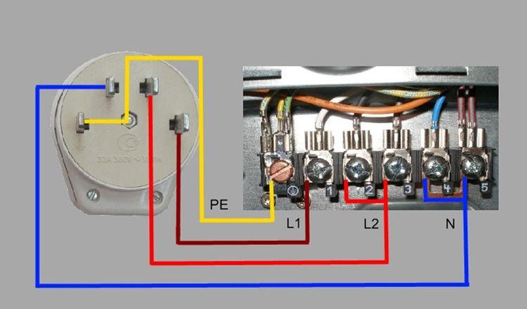 Схема двухфазного подключения варочной панели