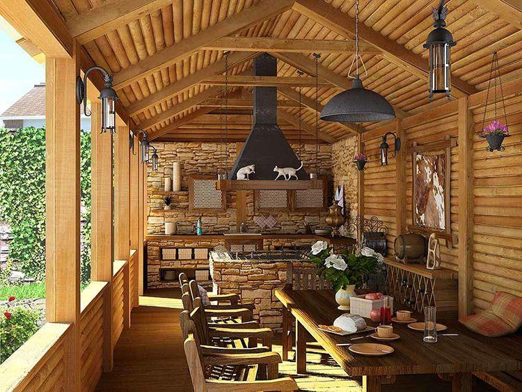 Фото кухни на даче в деревянном доме на террасе
