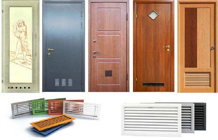 Варианты встроенной вентиляции в двери