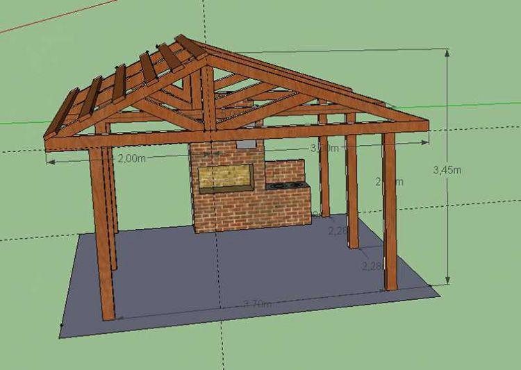 Двухскатная крыша на летней кухне-беседке