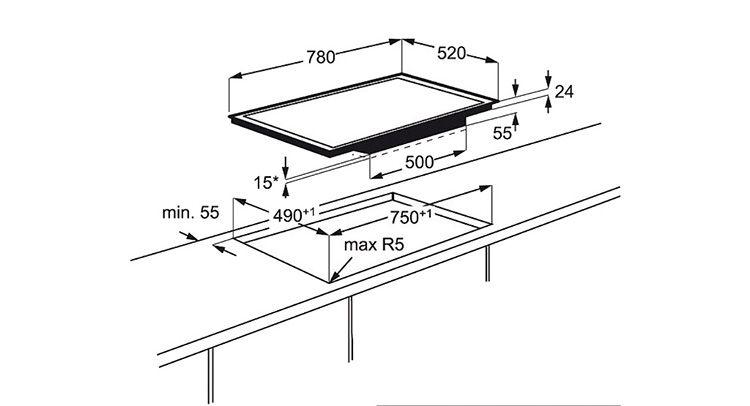 Разметка столешницы для врезки варочной поверхности на примере индукционной плиты ELECTROLUX EHL 98840 FG (EHL98840FG)