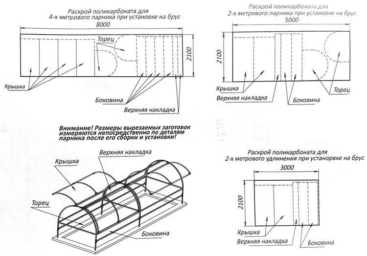 Для удобства предлагаем схему раскроя листов стандартной теплицы «Бабочка»