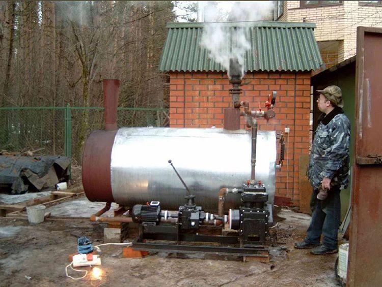 Дровяной парогенератор – прекрасная альтернатива электрическим, в том случае если вы располагаете дополнительным участком