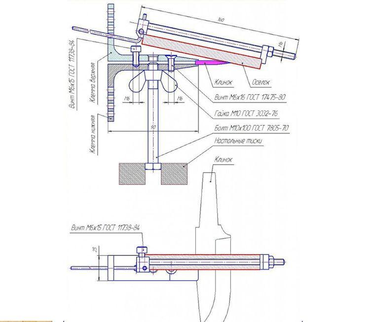 Схема механической профессиональной точилки для ножей Lansky-Metabo