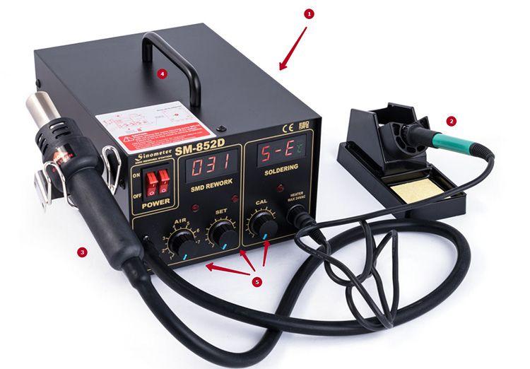 Внешний вид промышленной воздушной паяльной станции: 1 – блок управления, 2 − паяльник, 3 – фен, 4 − ручка для переноски, 5 – регуляторы температуры для фена и нагревателя