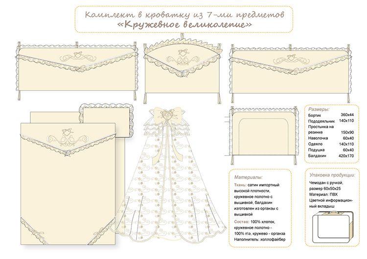 Схема раскроя комплекта в кроватку с размерами