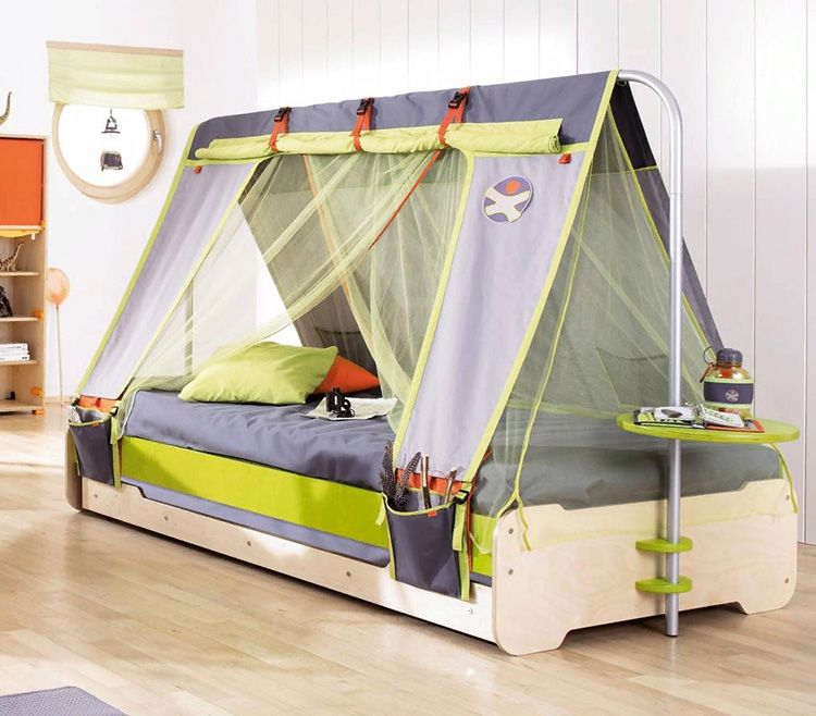 Вариант балдахина-полога для подростка в виде палатки на встроенном кронштейне