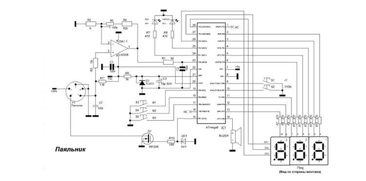 Схема паяльной станции с феном состоит из основного блока и манипулятора-термофена, в котором происходит нагревание воздуха