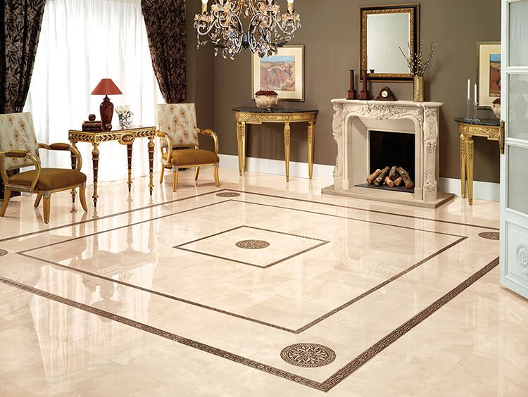 Напольная плитка – вариант для больших гостиных. Настоящая дворцовая зала