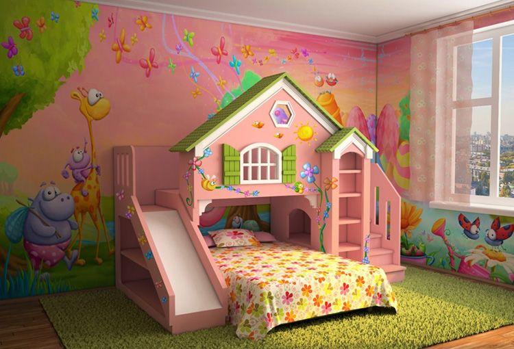 Кровать для девочки, совмещённая с игровой зоной