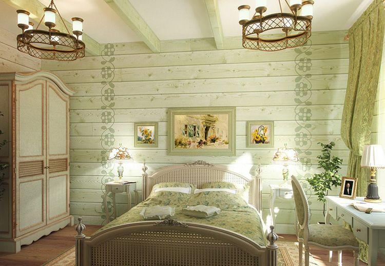 Обшивка стен деревянной вагонкой, декорированной растительным орнаментом