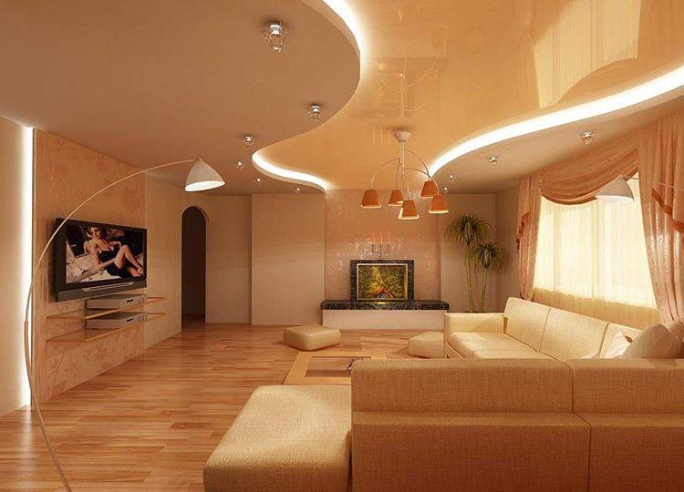 В просторных больших помещениях уместны многоуровневые потолки