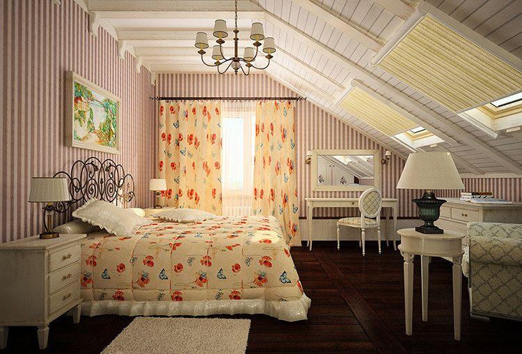 Дополнительные окна в крыше мансарды позволят наполнить спальню естественным светом