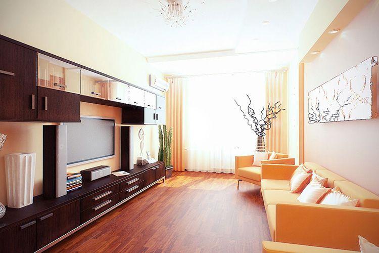 В гостиной должен быть минимальный набор мебели, который должен отличаться высокой функциональностью