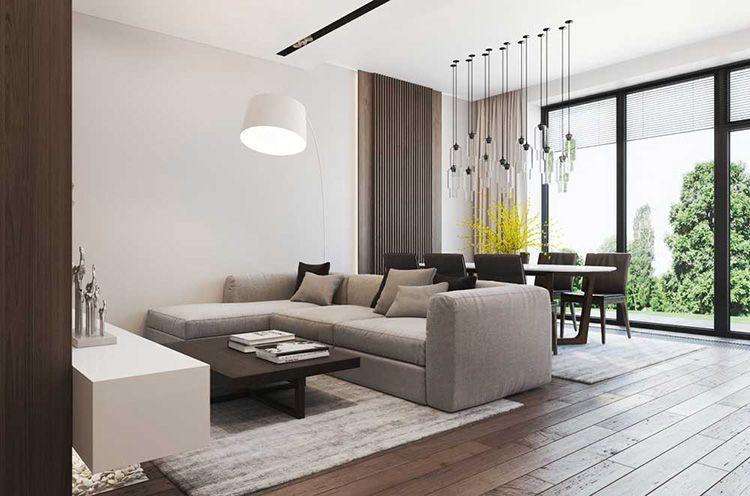 Столовая зона, отделённая от гостиной диваном
