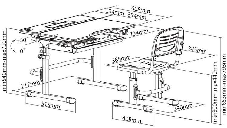 Оптимальные габариты стола и стула для рабочего места школьника в детской комнате