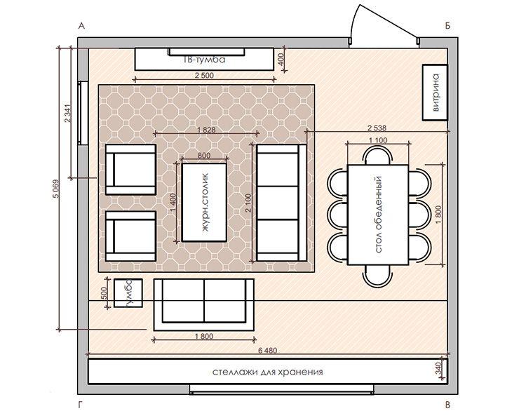 План зала с указанием расстановки мебели