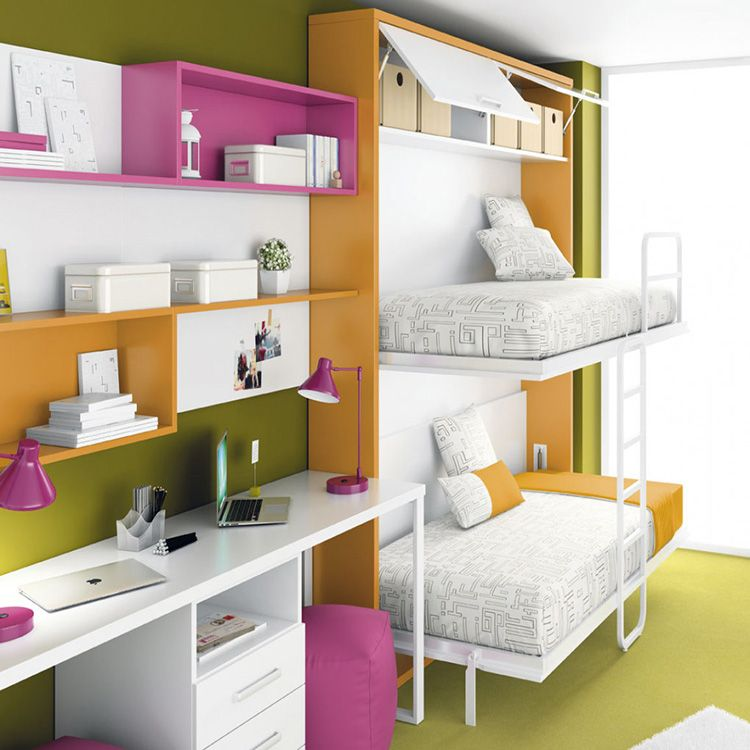 Двухъярусная кровать-трансформер, которая в сложенном состоянии не отличается по внешнему виду от шкафа или другой крупной мебели