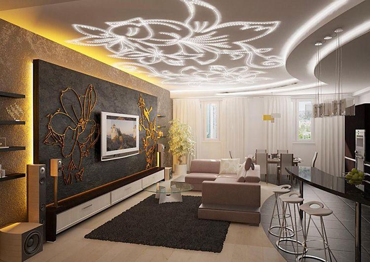 Оригинальная идея обустройства освещения в современной гостиной