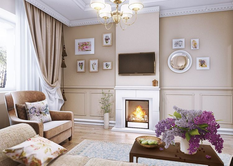 Фото дизайна интерьера гостиной в прованском стиле