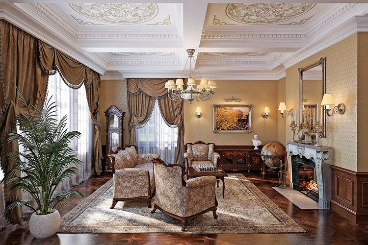 Фото дизайна интерьера зала в классическом стиле