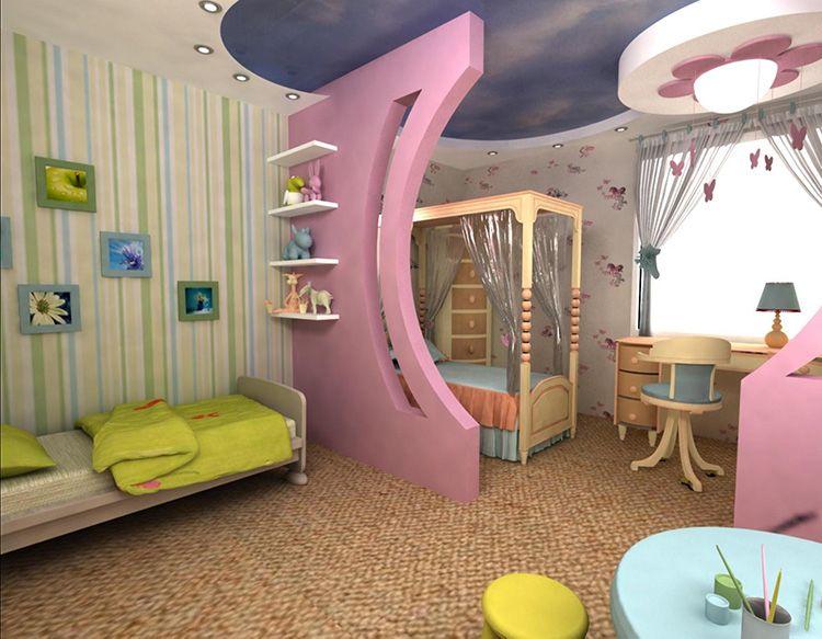 Вариант зонирования детской комнаты для разновозрастных девочек