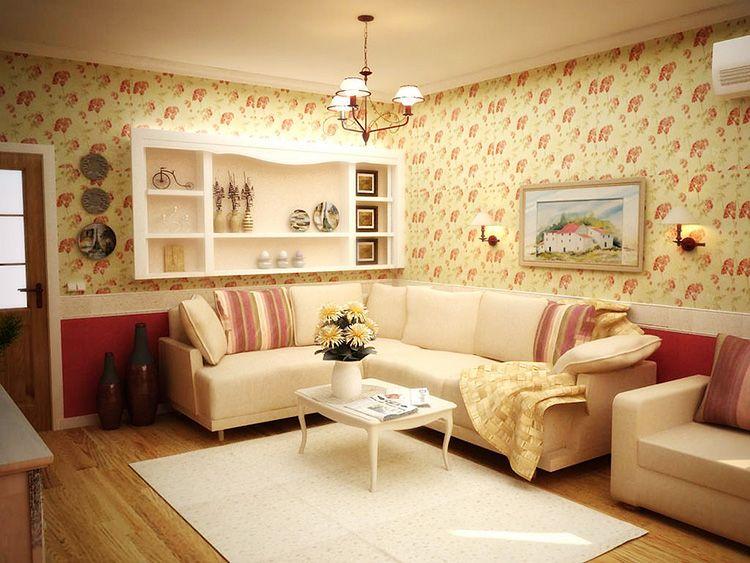 Маленькая, но уютная гостиная в прованском стиле
