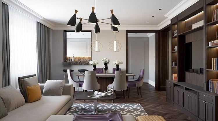Фото гостиной комнаты в квартире в стиле ар-деко