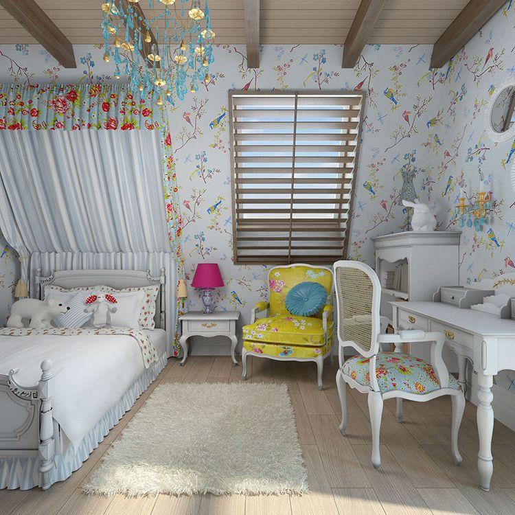 Детская комната в мансарде в прованском стиле
