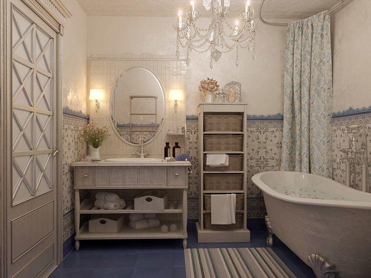 Высокая купель на чугунных рельефных ножках – неотъемлемый атрибут прованского интерьера ванной комнаты