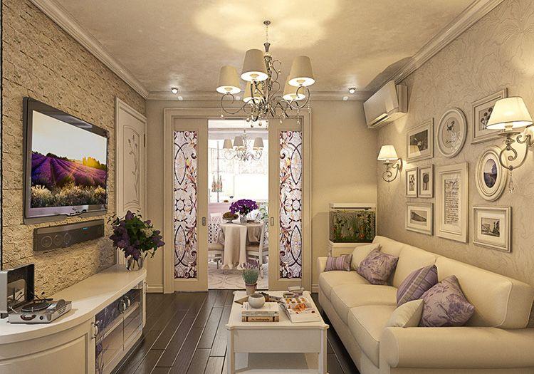 Фото реального ремонта зала с дизайном интерьера в стиле прованс
