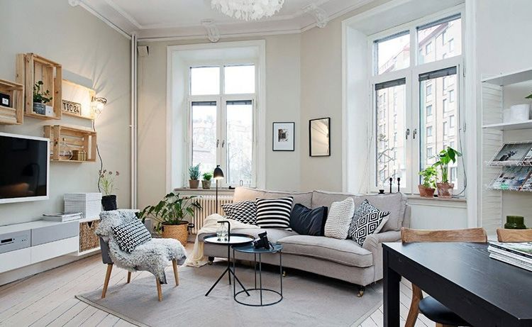 Гостиная в скандинавском стиле – очень много света и простора