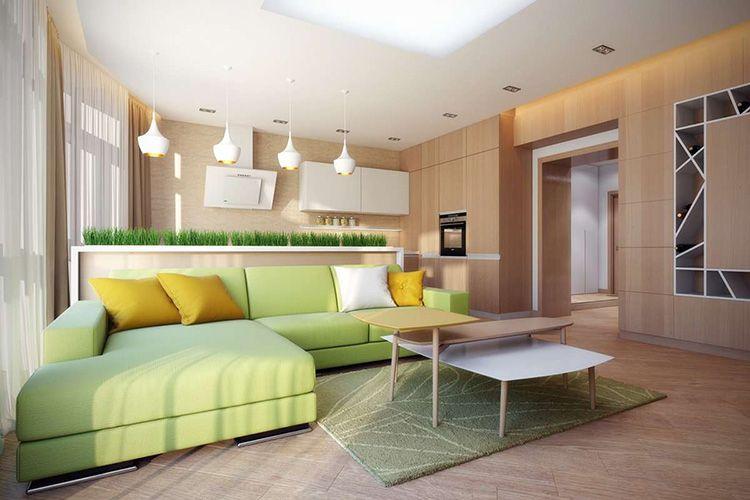 Гостиная, совмещённая с кухней в экостиле
