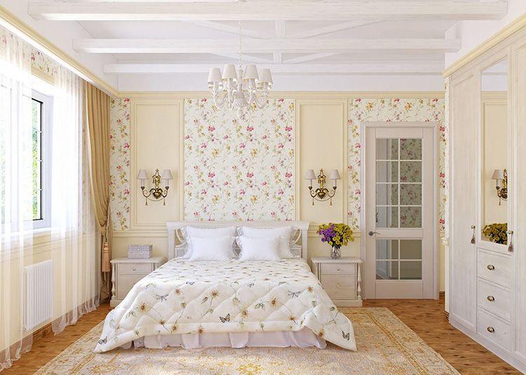 Прованский стиль в интерьере спальни располагает к покою и нежности