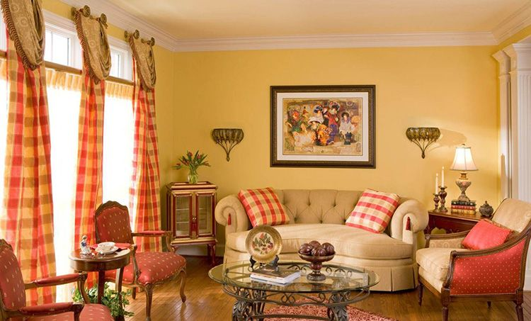 Жёлтые тона в интерьере гостиной дарят ощущение покоя и уюта