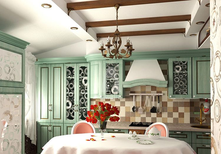 Деревянные балки, окрашенные морилкой, гармонично смотрятся на белом потолке