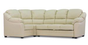 Угловой кожаный белый диван Бруно