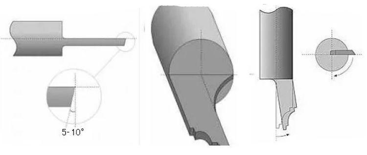 На режущей половине кромки заготовки срезается половина диаметра. Между частями заготовки с разными диаметрами формируется плавный переход