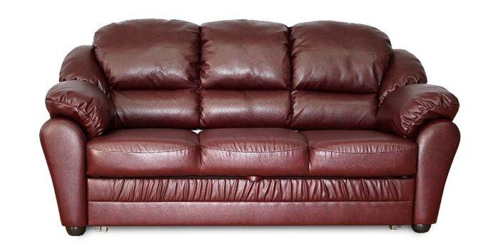 Прямой кожаный коричневый диван Бруно