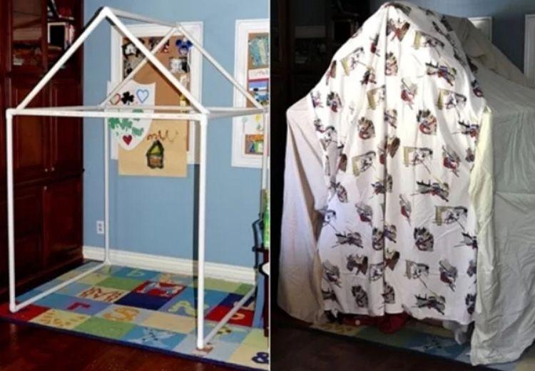 Для декорирования такой конструкции можно использовать более плотные ткани – такой домик не развалится!