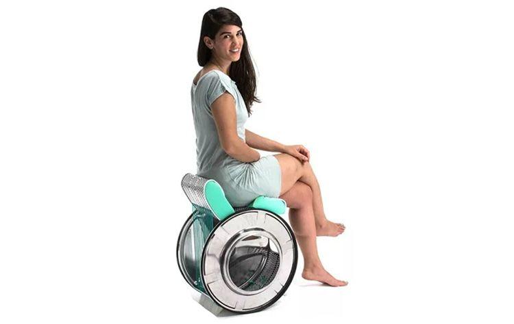 Слегка странноватый, но все же стул, из барабана от стиральной машины.