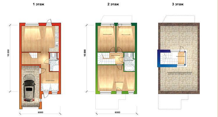 Проект таунхауса с самой простой планировкой
