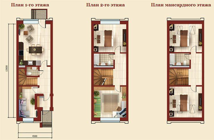 Планировка таунхауса площадью 100 м²